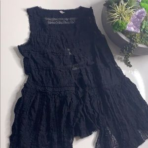 Free People Black Lace Open Front Vest